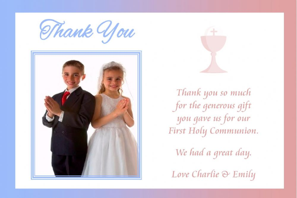 Personalised Boy Girl Photo Communion Thank You Cards